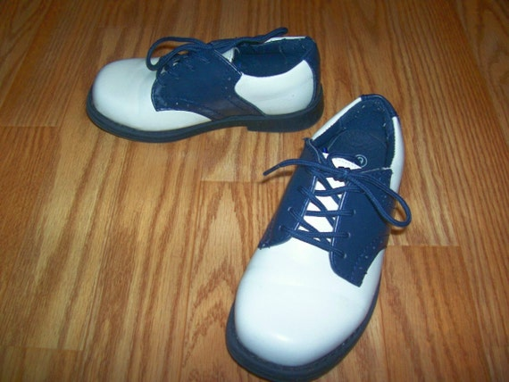 Navy And White Saddle Shoes For Toddlers