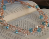 Wrapped in a Bubble.Copper Wire Crocheted Necklace.