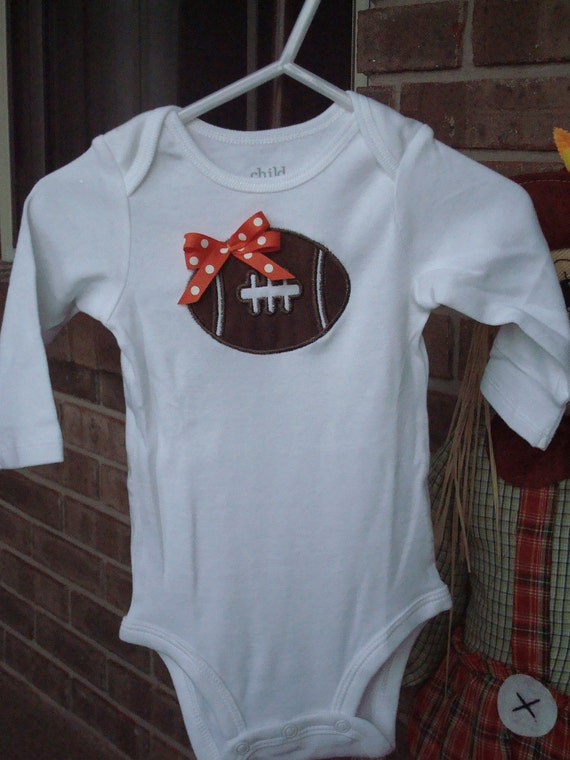 Cotton Onsie with Football Applique and Bow