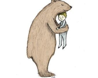 Bear Hug - 5x7 Animal Illustration Print
