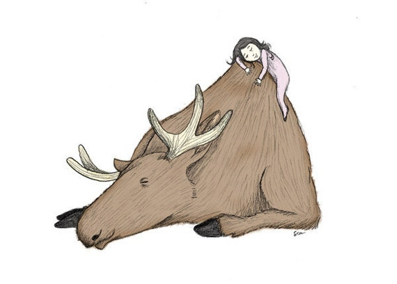 Princess and the Moose - 5x7 Animal Illustration Print