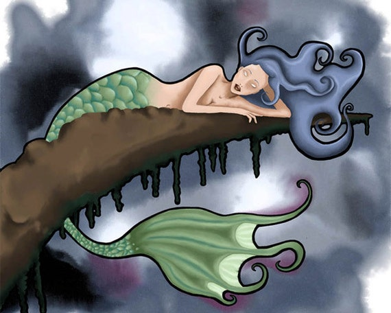 Nouveau Mermaid - 8.5 x 11 Illustration Print