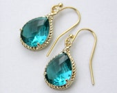 Sicily. Sea Green Faceted Glass Briolette Earrings in Fancy Gold Setting