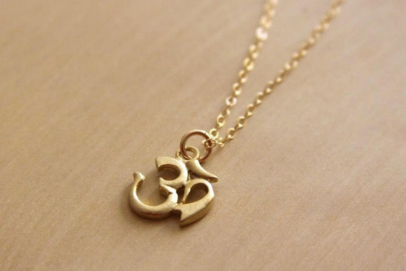 Clearance Sale. Om Gold Vermeil Charm on Goldfilled Necklace