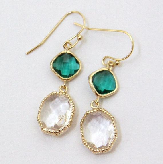 Emerald Green and Crystal Clear Faceted Glass Stone Earrings in Gold