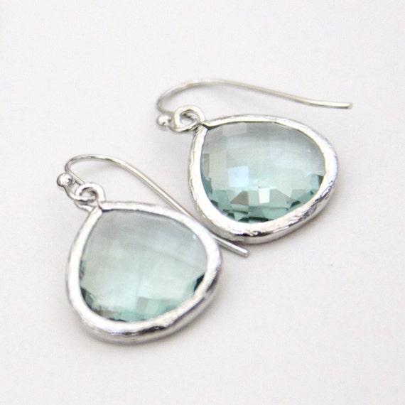 Gemma. Erinite Faceted Glass Stone Heart Pendant Earrings Silver