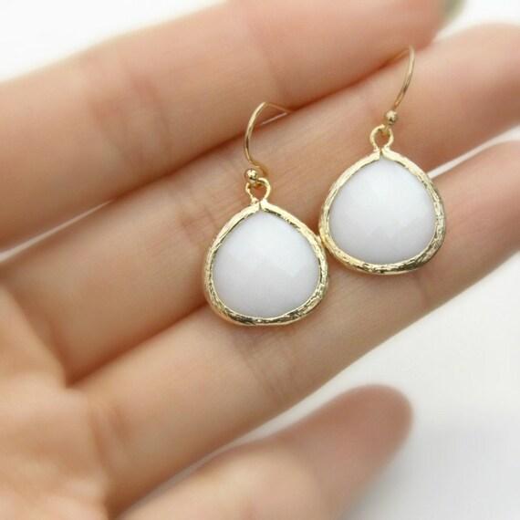 Gemma. White Opal Faceted Heart Glass Stone Pendant Earrings Gold
