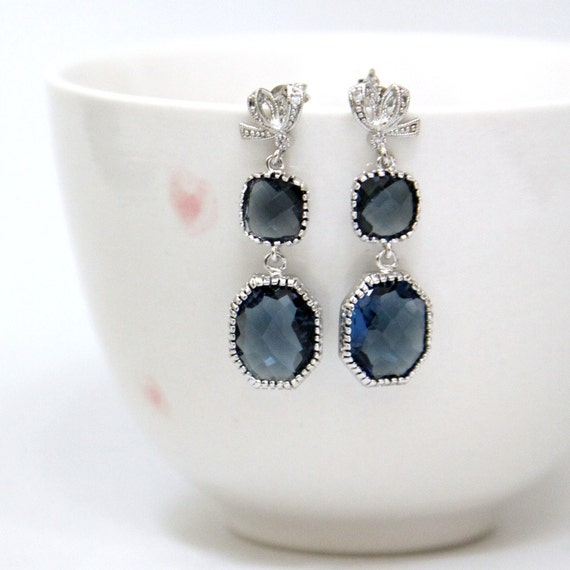 Sapphire Blue Faceted Glass Stone Earrings Silver Sterling Pin Post Style