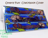 Checkbook Cover Otterly Fun Otters Vinyl Otter Swimming with Kelp