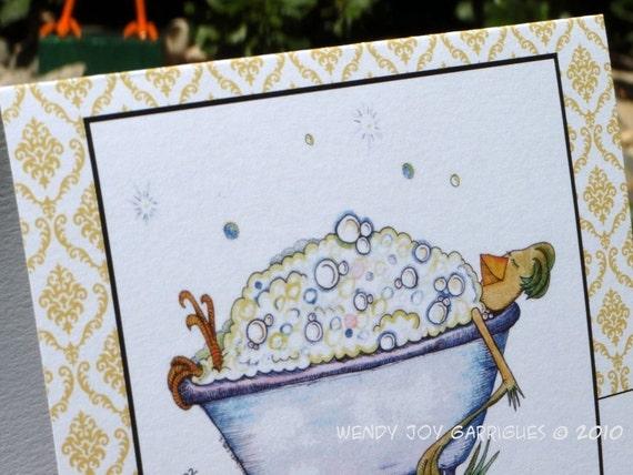 Note Card set four Bubble Bath Luxury Hen in a Bathtub Congrats Relax