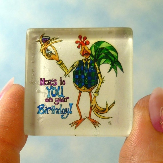 Celebrate Etsy Happy Birthday Magnet Rooster in a Plaid Vest