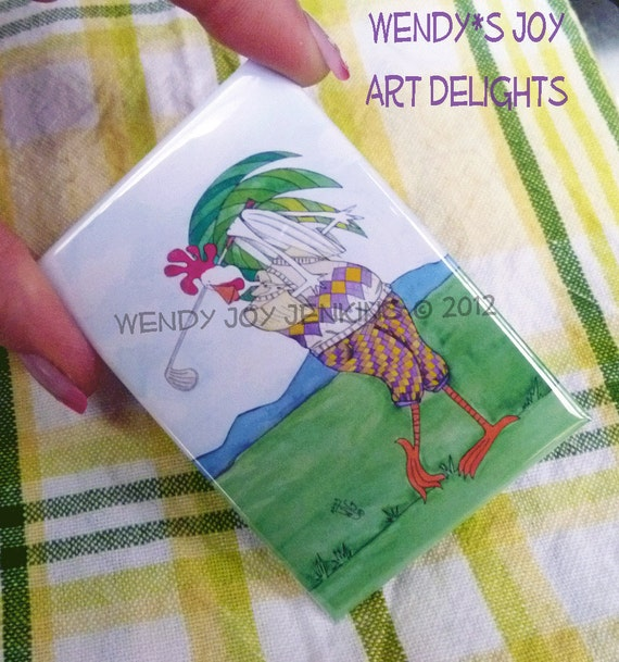 Magnet Golf Rooster Fathers Day Golfing Plaid, 2x3 illustration watercolor Early Bird Gets the Worm