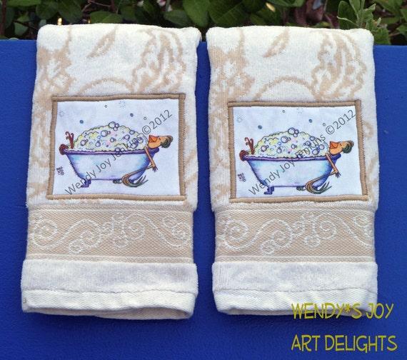 Bathroom Towel Set of 2 Fingertip Towels Bubble Bath Luxury Hen