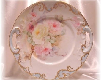 French Limoge Cake Plate - ca 1898 - Shabby Chic Roses -- OOAK