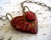 Copper Rose Heart Necklace (OOAK)