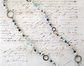 Grey Teal Loopy Necklace