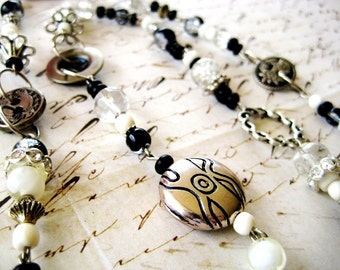 SALE - Long Bead Necklace in Classic Black, White, and Silver