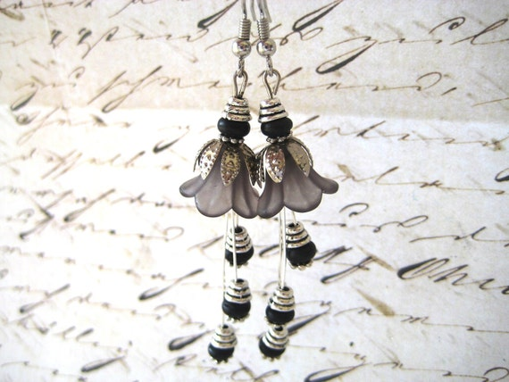 Classic Black Silver Blossom Earrings
