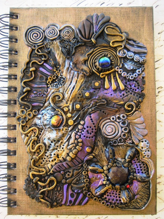 Reserved. Ancient Treasures Journal, Spiral Notebook - Polymer Clay Design
