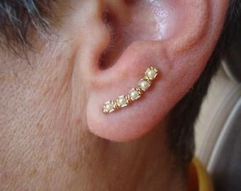 Pearl Ear Art Pins 14K Gold Fill