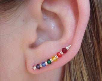 Sterling Silver Swarovski Rainbow Ear Climbers