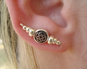 Sterling Silver Round Celtic Knot Ear Art Pins