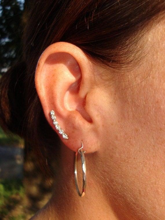 Sterling Silver Swarovski Crystal Ear Climbers 6 Stone