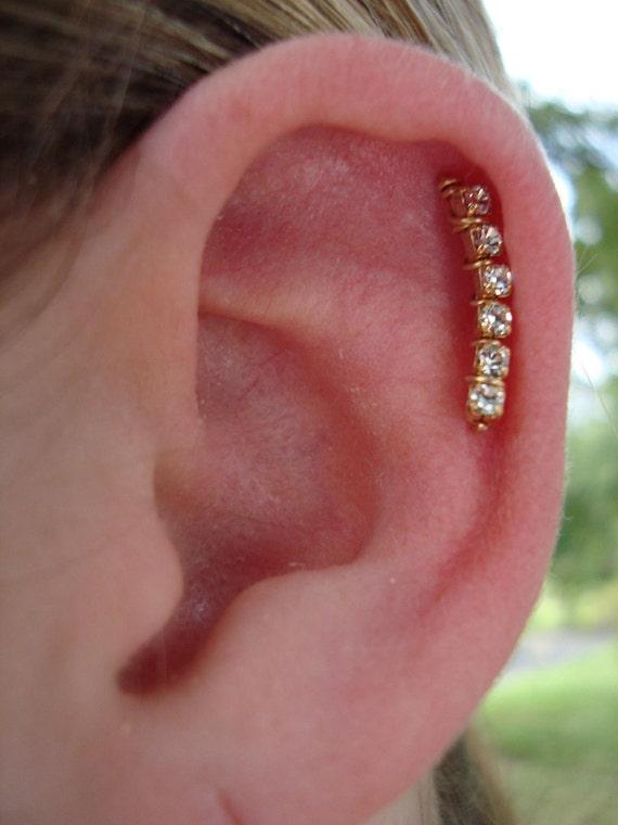 14K Gold Swarovski Crystal Ear Art Pins
