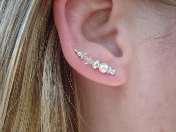 Swarovski Crystal & Pearl Sterling Silver Mini Ear Art Pins