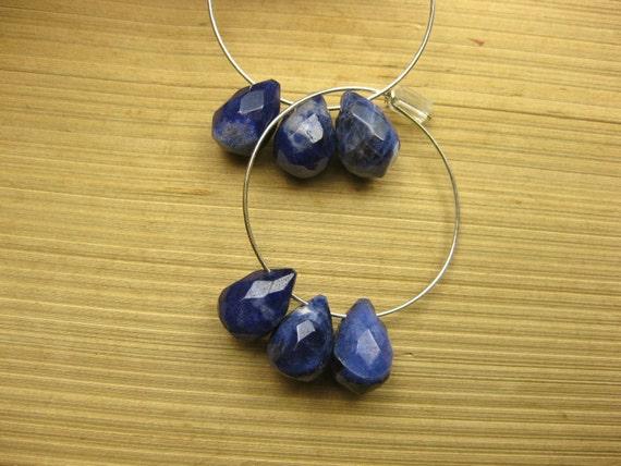 Deep Navy Blue Faceted Sodalite Briolettes & Silver Hoop Earrings