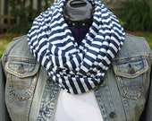 nautical, navy blue and white scarf, stripe, infinity scarf, light weight