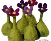 Set of 6 egg cosies hand felted flowers easter table centerpiece felt