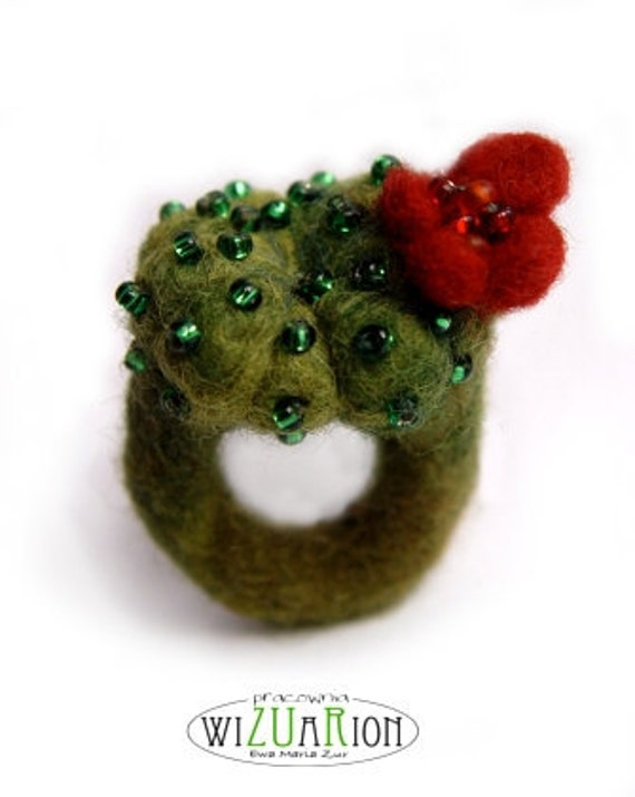 CACTUS RING with red flower hand felted cactus felt succulent embroidered
