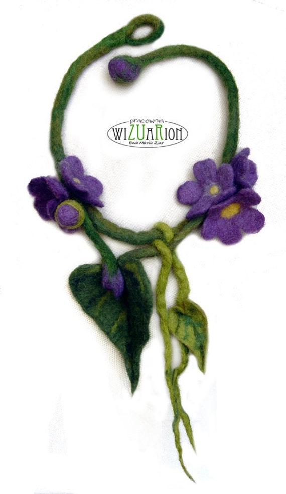 FLOWER NECKLACE Violet hand felted Ready to shipping