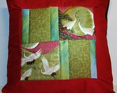 """Wild Crane Quilted Oriental Style Cushion Cover Pillow Sham 12"""" x 12"""""""