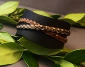 Leather Cuff, Black Leather Cuff, Thick Leather Cuff, Women's Leather Cuff, Vintage Bracelet, Braided bracelet, Leather Bangle