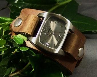 Brown Watch-Leather Watchband-Leather Watch-Cuff Watch-Men Watch-Wrist Women Watch-Friendship Gift-Bracelet Watch-Leather Watch Cuff-Gifts