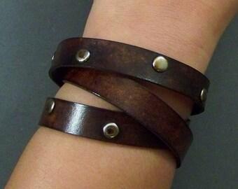 Wrap Around Bracelet, Leather Bracelet, Women Bracelet, Men Bracelet, Leather Wrist Bracelet, Friendship Bracelet, Brown Leather Bracelet