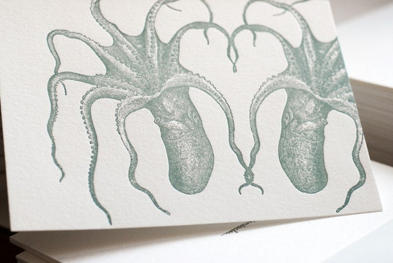 Let's tangle tentacles (a deep sea letterpress valentine in 5 cards & envelopes)