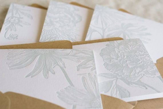 A Flower Flavored Greeting (in 5 letterpress printed cards & 5 envelopes)