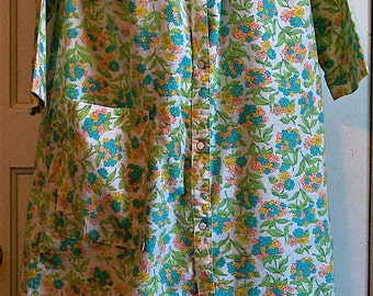 Vintage Flower Power Flannel House Robe