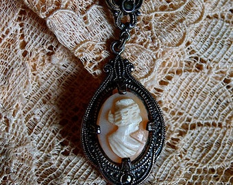 1910 Victorian Heirloom Marcasite Cameo Silver Necklace