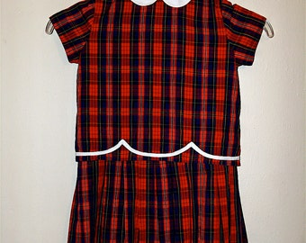 Vintage Plaid 2 Piece Girl Dress with Pleated Skirt