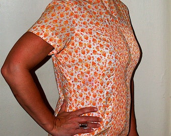 SALE Vintage Orange and Pink Flower Print Shift Dress
