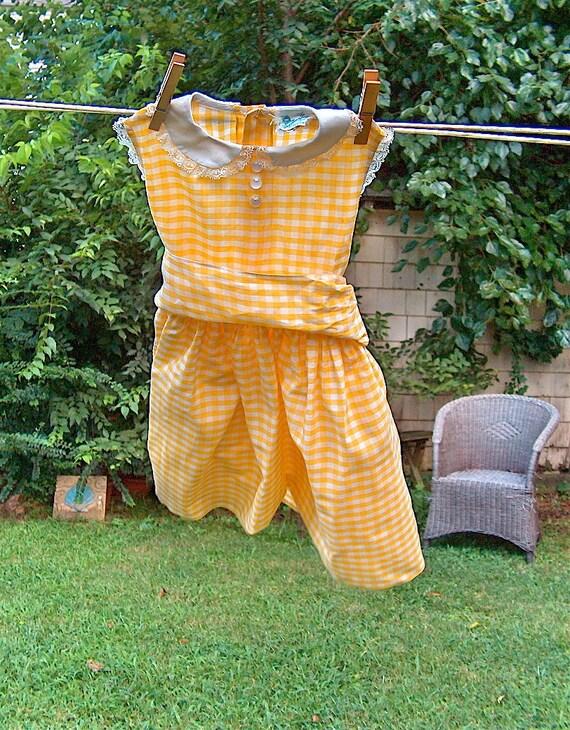 """SALE 1960 """"Tiny Town Original"""" Yellow Girls Sun Dress"""
