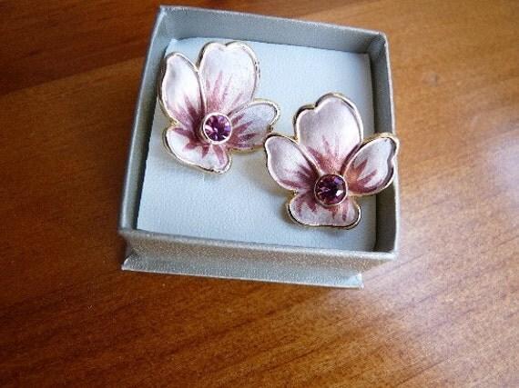 Vintage 1980s Pink Crystal Lotus Flower Earrings