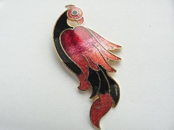 large cloisonne deco style bird brooch. Black Bedroom Furniture Sets. Home Design Ideas
