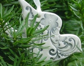 Set of 6 Large Smokey Blue Ceramic Doves - Wedding or Christmas Ornaments