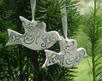 You Pick 20 -  Large Ceramic Doves - Wedding Favors or Christmas Ornaments