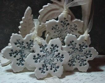Four Simply Elegant Ceramic Snowflake Ornaments